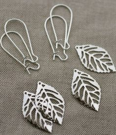 Each set includes enough supplies for 2 pairs of earrings – fro $1.57    You'll love how easy it is to create a gorgeous pair of earrings with this fun little kit.  We've included enough supplies to create two lovely pairs of  silver leaf earrings.  You'll not only love the ease of making these, but you'll love the way they look… a great pair of earrings that work with almost any outfit at any time of year!