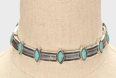 Turquoise and Silver Metal Choker