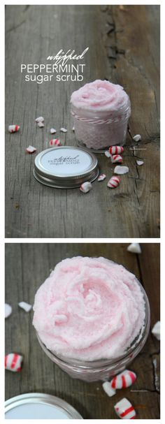 Sugar Scrub | Christmas | Whipped Peppermint Sugar Scrub Recipe.  Free printable labels.  Makes a great gift idea. Easy to make with this video tutorial.
