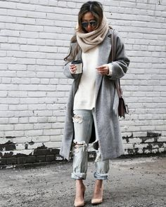 Scarf: tumblr knitted knitwear infinity coat grey coat jeans denim blue jeans ripped jeans cuffed