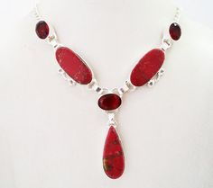 Fabulous Necklace with Red Quartz and Unique Synthetic Stone  #15-33 by WhereDidYouBuyIt on Etsy