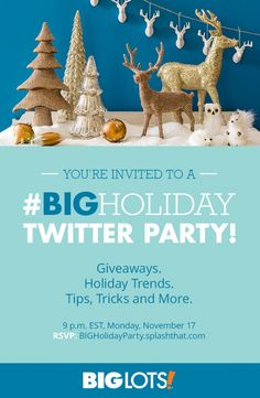 Join @biglots on twitter tonight (Monday, November 17th) at 9pm for the most festive twitter chat of the season! #BigHoliday #sponsored #happyholidays