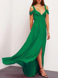 Negozio vestito increspato con le spalle nude con apertura - Verde on-line. SheIn offre vestito increspato con le spalle nude con apertura - Verde & di più per soddisfare le vostre esigenze di moda.