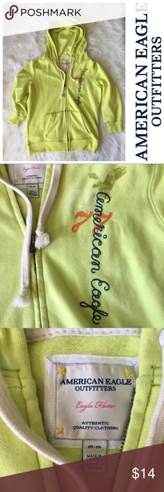 Medium American Eagle 3/4 length zip up hoodie Bright green American Eagle 3/4 length sleeve zip up hoodie, excellent condition. American Eagle Outfitters Tops