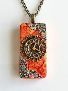 Alcohol Ink Orange & Paisley Clock Domino Pendant