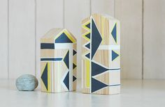 Miniature househand painted wooden housegeometric by NUTAK on Etsy