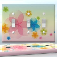 DIY Do It Yourself Home Decor - Easy to apply wall plate wraps | The Magic of July  Cute little flowers  wallplate skin sticker for 3 Gang Toggle LightSwitch | On SALE now only $5.95