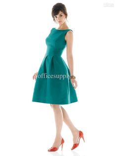 Wholesale High neck A Line Blue satin bridesmaid dresses with Knee length D440, Free shipping, $60.22-75.23/Piece | DHgate