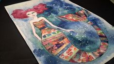 ❤ Mermaid painting with washi tape collage for #JDMM #mermaidgiveaway & ...