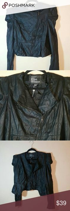 """SEXY Edgy Modern Generation Faux Leather Jacket Asymmetrical Front Zipper  Peplum Bottom  Punk Shoulder Notched Faux Leather Tuxedo Coat Blazer Jacket   Spiked Out Shoulders for that Edgy look.  Folded, cut, rolled, turned, fluid, diverted, black leather in all its forms  Chest is 18"""" -36"""" all around Waist: 16.5"""" -33"""" around Arm length from outer shoulder seam: 26"""" Arm inseam: 19"""" Jackets & Coats"""