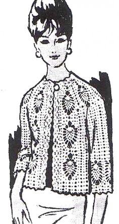 Crochet Pineapple Jacket Sweater Coat Cardigan Vintage Crochet Pattern