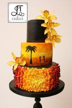 Sunset wedding cake - Cake by JT Cakes