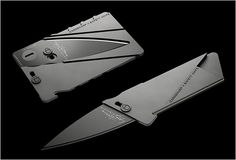 This Credit Card Knife Is Terrifyingly Stealth This credit card is really a knife. Just putting that out there in case it wasnt coming across already. Its a 2.2mm thick, 85.6mm x 54mm CNC machined aluminum treat. Keep it in your wallet to impress your friends and gore your enemies!