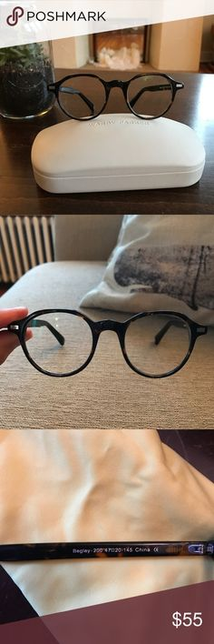 Warby Parker 'Begley' Round Tortoise Frames unisex In perfect condition. Reader lenses currently in place (don't ask because I don't know the prescription!) but you could have them fit to your own Rx. Comes with case and cloth.  Measures 47 | 20| 145 - https://www.warbyparker.com/eyeglasses/men/begley/whiskey-tortoise Warby Parker Accessories Glasses
