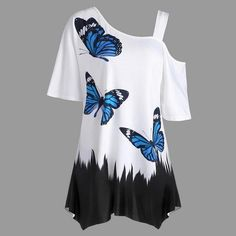 Women Skew Collar Half Sleeve Cut Out Tops Plus Size Butterfly Print Tunic T-Shirt Casual Summer Top T Shirts Plus Size T Shirts, Plus Size Blouses, Plus Size Tops, Top Fashion, Plus Size Fashion, Fashion Site, Cheap Fashion, Style Fashion, Fashion Online