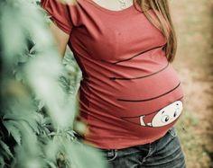 Mutterschaft, Kleidung Mutterschaft, Maternity Clothing, Maternity Shirt, Baby-Schwangerschaft-Mutterschaft Shirt, Peekaboo, Peek a Boo Baby einsehen
