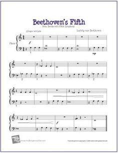 Beethoven's Fifth | Digital Print Sheet Music for Easy Piano - http://makingmusicfun.net/htm/f_printit_free_printable_sheet_music/beethoven-fifth-easy-piano.htm