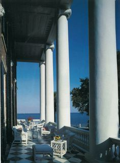 The piazza at Roper House, looking out onto the Battery  Charleston, SC