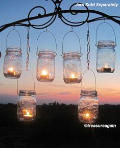 DIY Wedding Mason Jars Lanterns Hangers 6 DIY Outdoor Party Hanging Candle Kits, Luminaries by TreasureAgain, Handmade Hangers Only, No Jars