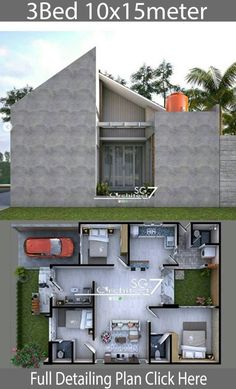3 bedrooms home design plan House description:One Car Parking and gardenGround Level: Master bedroom with included Office walk in closet and bathroo Simple House Design, Minimalist House Design, Minimalist Home, Modern House Design, Office Floor Plan, Bungalow House Design, Tiny House Plans, Home Design Plans, House Layouts
