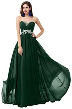 Sunvary Sweety Chiffon Bridesmaid Party Dresses Floor Length Prom Gowns for Pageant US Size 4 Dark Green * Check out the image by visiting the link.