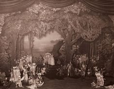 Beerbohm Tree's design of Midsummer. The set is a realistic take on Shakespeare's play.