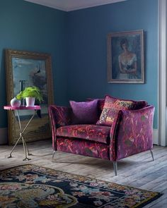 "Boho Luxe, Vintage & Eclectic on Instagram: ""Isn't this a gorgeous chair? I love the fabric and it looks great against the blue wall. 💜💙💜 Image credit Pinterest.com - DM for…"""