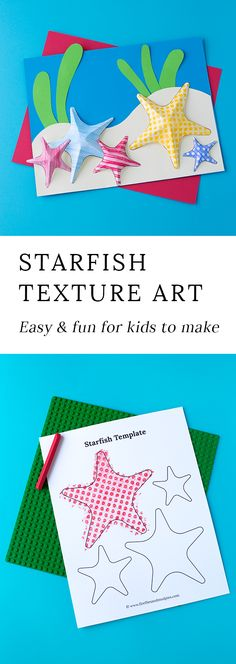 Summer is the perfect season for creating Starfish Texture Art with kids. This easy craft contains a free template, making it perfect for home or school. #summercrafts #easycraftsforkids #starfish #papercrafts