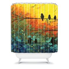 Madart Inc. Polyester Birds Of A Feather Shower Curtain