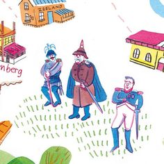 Crop of illustrated map for @mestmagazine #10.  By Marjolein Schalk. #illustratie #instaart #ink #illustratie #illustration #illustratedmap #napoleon #history #mestmag #map #plattegrond