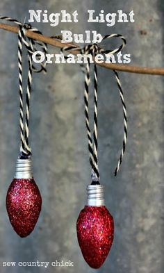 DIY Christmas ornaments from recycled glass night light bulbs. These homemade glitter ornaments look great with rustic or farmhouse holiday decor! Get your bulbs at the dollar store (so cheap).