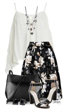 """""""Floral Skirt"""" by jackie22 ❤ liked on Polyvore featuring Sans Souci, Kara, Wythe NY, Simon Frank and Betsey Johnson"""