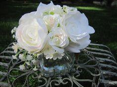 Beautiful  Silk Flower Arrangement  White by FlowerIsland on Etsy