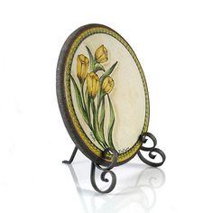 """Tulipani"" -""Тюльпаны""/ Медальоны на керамизированном лавовом камне вулкана Этна / Ceramic medallions based on Etna Lava Stone"
