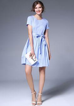 Now available    Short Sleeve Wais...  Shop Now  http://nbrandfashion.com/products/short-sleeve-waist-plaid-printing-a-line-dress-nr1058-blu?utm_campaign=social_autopilot&utm_source=pin&utm_medium=pin