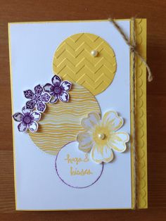 Stampin Up card. Daffodil delight card and ink, scallop embossing folder, zig zag embossing folder, petite petals stamps and punch, flower shop stamp, moonlight designer paper
