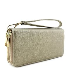 Double Zip Around Wristlet Wallet Pale Gold * More details @