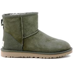 UGG Boots ($155) ❤ liked on Polyvore featuring shoes, boots, ankle booties, uggs, verde, mini boots, ugg australia boots, fur lined boots, rubber sole boots and green hunter boots