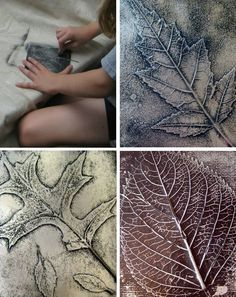 DIY Fall Leaf Art - glue leaf to paper cover with sheet of foil and rub to emboss the leaf.