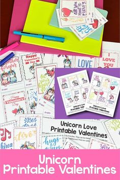 Create fun and whimsical valentine printables cards with these unicorn valentines. Unicorn Valentine Cards, Love Valentines, Fun Printables For Kids, Activities For Kids, Free Printables, Bullet Journal How To Start A, Bullet Journal Layout, Kids Planner, Unicorn Printables