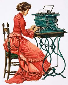 Victorian female secretary at type writer by Peter Jackson