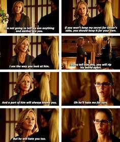 Arrow - Moira & Felicity #2.13 #Season2 this is one of those moments where you really hate moirah cus she is a monster