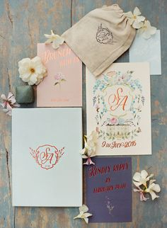 Colorful floral wedding invitation paper suite: http://www.stylemepretty.com/2016/12/20/best-invitations-of-2016/ Photography: Apryl Ann - http://aprylann.com/
