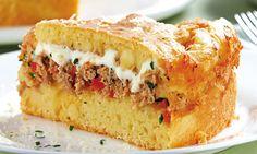 Receita de Empadão de atum e queijo - Torta salgada e quiche - Dificuldade: Fácil - Calorias: 398 por porção