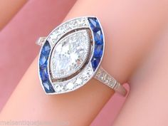 ESTATE-ART-DECO-1-04ct-MARQUISE-DIAMOND-SAPPHIRE-ENGAGEMENT-COCKTAIL-RING