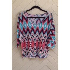 Fun Printed Top Adorable fun printed top from Charlotte Russe. Dolman sleeves. Slightly hi-lo. Looks great with white jeans and shorts. In great condition. No rips or stains. ❌No Trades❌ Charlotte Russe Tops