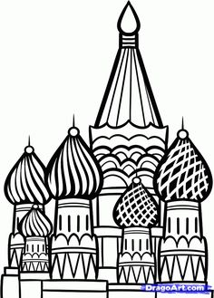 How to Draw the Kremlin, Moscow Kremlin, Saint Basil Cathedral, Step by Step, Famous Places, Landmarks & Places, FREE Online Drawing Tutoria...