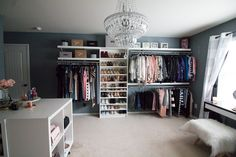 My dream walk in closet Spare bedroom turned dressing room Dressing Room Update Elfa Closet Systemstephienese Bedroom Into Dressing Room, Bedroom Turned Closet, Ikea Dressing Room, Spare Room Closet, Spare Bedroom Closets, Dressing Room Design, Extra Bedroom, Diy Bedroom, Spare Room Dressing Room Ideas