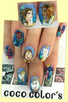 美女と野獣 : Character nail art. Kawaii nails.