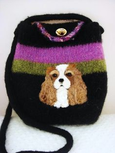 Cavalier King Charles Spaniel felted bag on Etsy So cute but I would never use it.